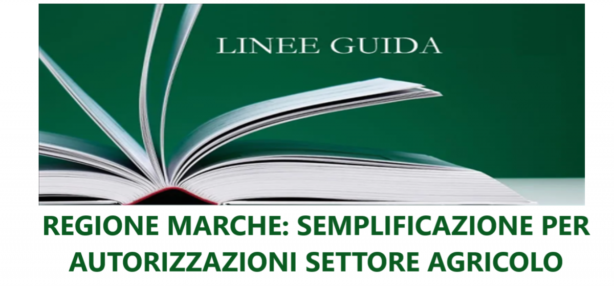 REGIONE MARCHE: Semplificazione amministrativa per gli interventi in ambito agricolo.